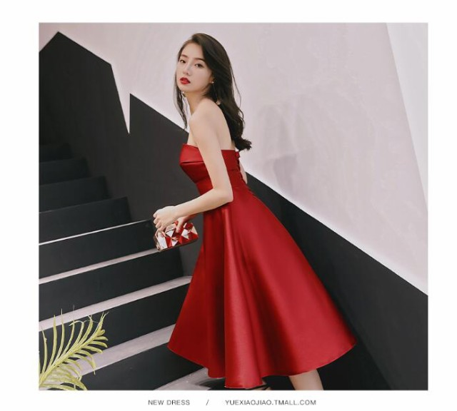 0eda03553026e 大人気 パーティードレス ベアトップドレス二次会 ウェディングドレス 花嫁 結婚式