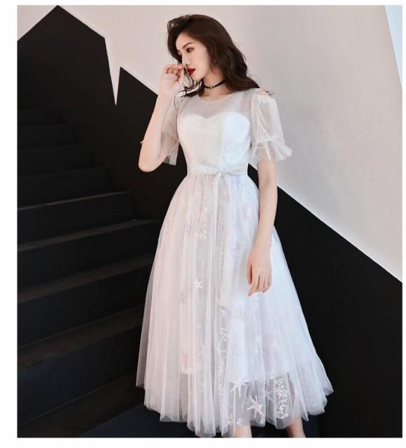 578ae2ab9de41 ホワイト ミモレ丈ドレス ウェディングドレス パーティドレス お呼ばれ ピアノ 発表会 二次会ドレス 演奏会