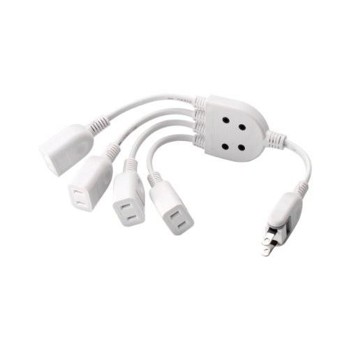 エレコム 電源ケーブル ACアダプタを4個つなげる 0.2m ホワイト T-ADR4WH