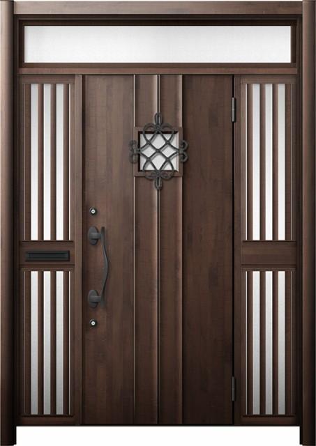 大人気新作 玄関ドア リシェント3 断熱 K2 D77型 両袖ランマ付飾り中桟付ポスト付 W:1,530~1,695mm × H:2,301~2,600mm リクシル, 餃子の王国 5b19096a