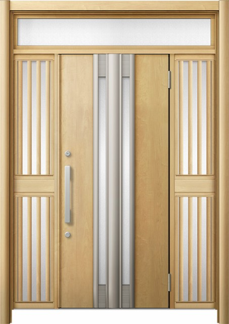 【再入荷!】 玄関ドア リシェント3 断熱 K2 G77型 両袖ランマ付飾り中桟付ポスト無 W:1,030~1,695mm × H:1,974~2,300mm リクシル, 防犯百貨 ホームプラス bc59b7b4