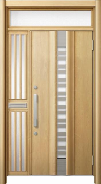 最愛 玄関ドア リシェント3 断熱 ランマ付 K4 G82型(採風) 片袖飾り中桟付ポスト付ドア W:1,113~1,336mm × H:2,301~2,600mm リクシル, MAJUN(マジュン) ae9fa1f9