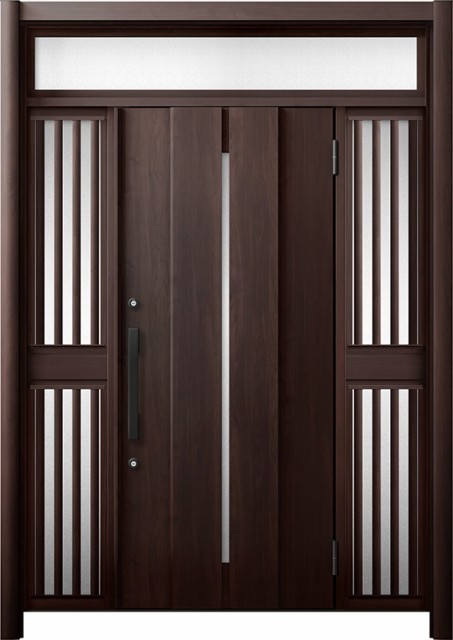 【送料無料】 玄関ドア リシェント3 断熱 K4 M12型 両袖ランマ付飾り中桟付ポスト無 W:1,080~1,695mm × H:2,301~2,600mm リクシル, ハッピーLIFE 2910609c
