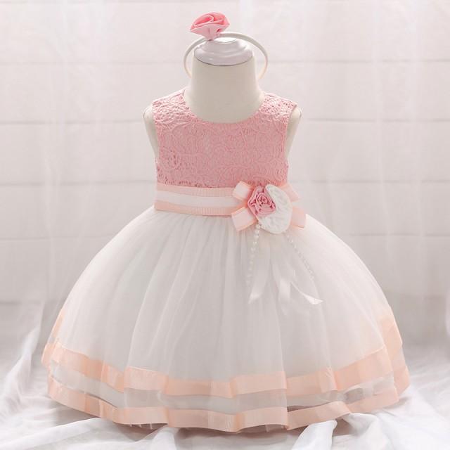 396573dbdd3cb 70-90cm ピンクドレス ベビードレス お花付き子どもドレス キッズ出産 ...