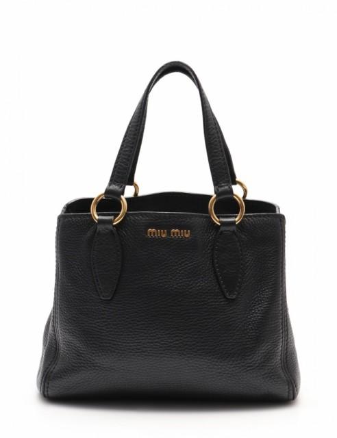 【後払い手数料無料】  ミュウミュウ 黒 miu 2WAY レディース レザー 新着 トートバッグ miu-バッグ