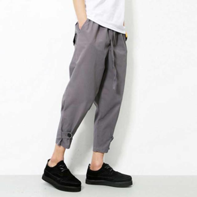 331dbef833988 サルエルパンツ/メンズ/綿パンツ/クロップドパンツ/裾ロール/短パン ...