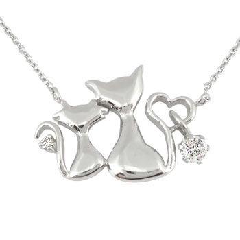 世界の プラチナ ネックレスダイヤモンド アニマル 猫 ハート チェーン 人気 ダイヤ レディース 女性用 送料無料, 布引の瀧 82c220dd