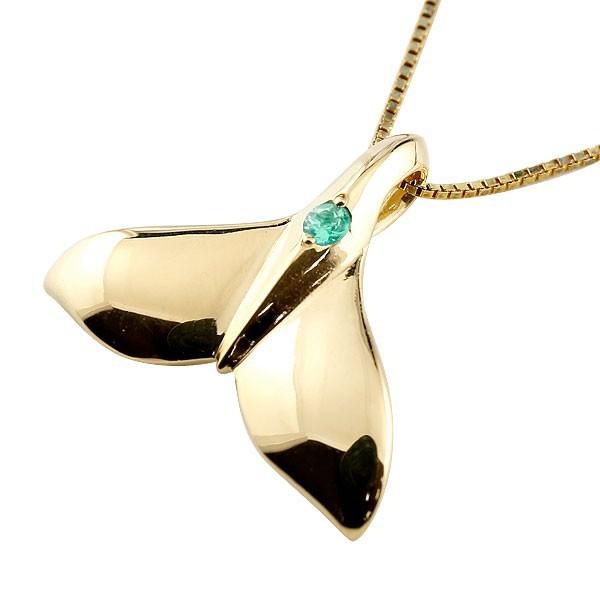 贅沢品 レディース 5月誕生石 イエローゴールド エメラルド 10金 k10 ホエールテール 人気 鯨 クジラ ハワイアンジュエリー ネックレス 天然石-ネックレス