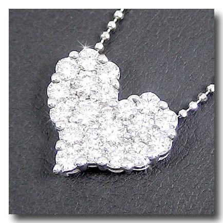 低価格で大人気の ダイヤモンドネックレス ネックレス ダイヤ ダイヤモンド ハート ネックレス1.00ct 18金 人気 レディー 送 チェーン ホワイトゴールドk18-ネックレス