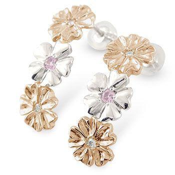 人気が高い  18k プラチナ pt900 ピアス k18pg ピアス ピンクサファイア ピンクゴールドk18 プラチナ ハワイアンジュエリー ダイヤ ダイヤモンド 18金-ピアス