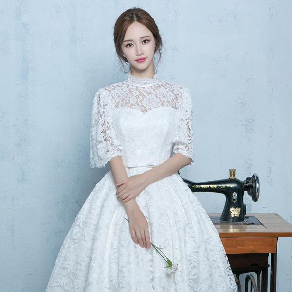 ウェディングドレス パーティー 二次会 花嫁 結婚式ドレス 高級Aライン プリンセス 流行りの花レース ミモレ丈ドレス ワンピース