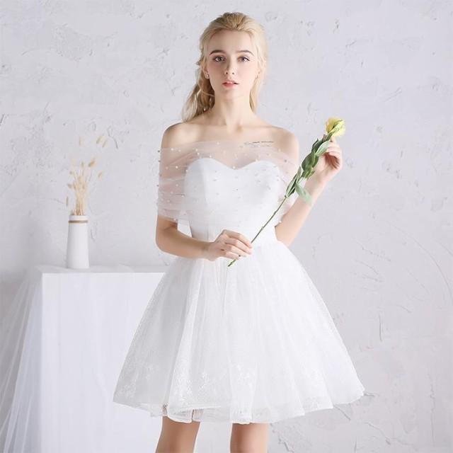 ウェディングドレス パーティードレス 花嫁 結婚式ドレス Aライン 高級 プリンセス 流行りのミニ丈ドレス 花レース ワンピース