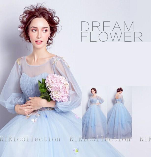 75d37dbcc1e99 即納♪ウェディングドレス 上品なライトブルー ドレス カラードレス 結婚式 披露宴 刺繍