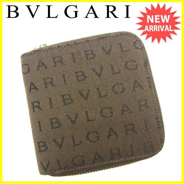 b1697c7c8851 ブルガリ BVLGARI 二つ折り財布 財布 小物 サイフ ラウンドファスナー レディース ロゴマニア 【中古】