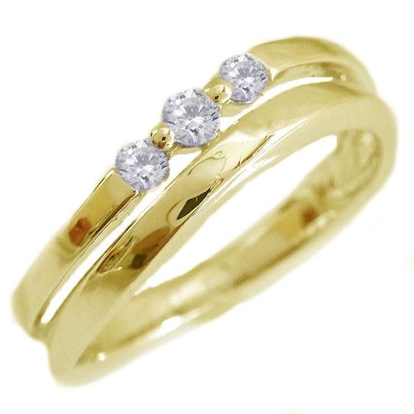 【新品本物】 ダイヤモンド リング ゴールド K18 ダイヤ 0.11ct K18yg, 大特価屋 45214aa1