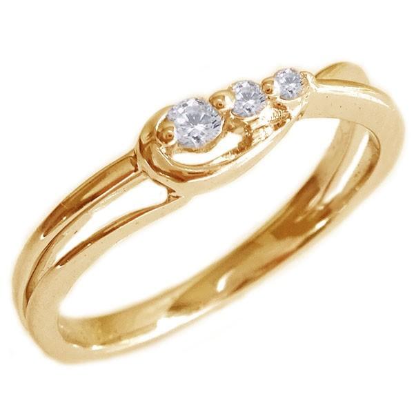 消費税無し スリーストーン ダイヤモンド リング ピンクゴールドK18 ダイヤ 0.06ct K18pg, KB1TOOLS 02a8a422