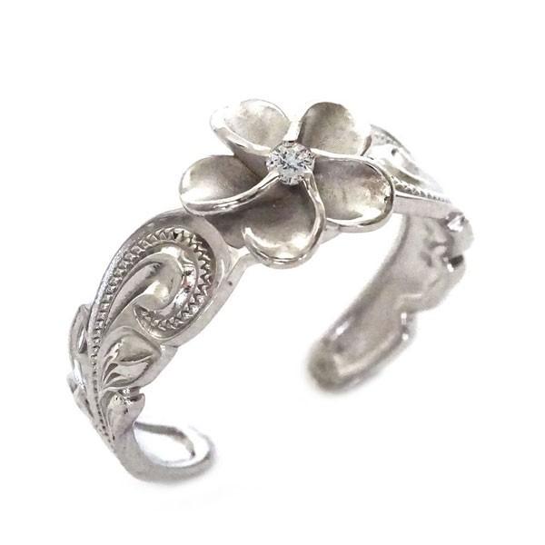 ホットセール ハワイアン ジュエリー 指輪 ホワイトゴールド K10 リング ダイヤモンド K10wg プルメリア スクロール フリーサイズ, 那須郡 015a6fee