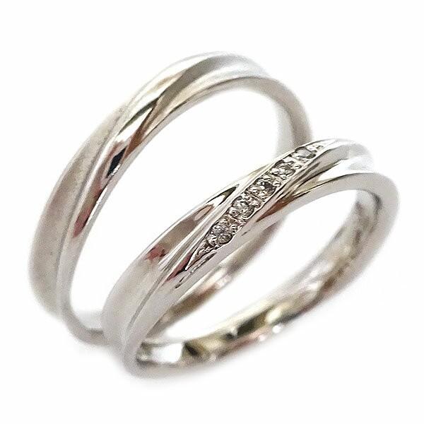 【お買い得!】 結婚指輪 ホワイトゴールド K18 マリッジリング ペアリング ダイヤモンド ペア2本セット K18wg ダイヤ, 生活発掘倶楽部 39ad4f50