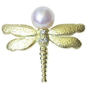 最新デザインの 真珠 パール 真珠 K18 ゴールド ピンブローチ ラペルピン ゴールド タイニーピン 6-6.5mm とんぼ パール 18金, crevITa:10a034a9 --- wife.kollima.de