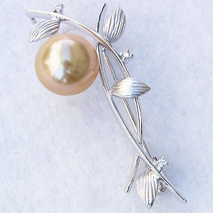 最高の品質の 真珠 ゴールデンパール ブローチ 南洋白蝶真珠 10mm パール K18WG ホワイトゴールド, 中古コピーパソコンのイーコピー 5e20689d
