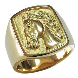 数量限定セール  メンズリング 馬 リング 指輪 印台リング ラッキーホース 地金リング メンズ 男性用 ゴールド K18 送料無料 指輪 おしゃれ, トマタグン ca9371d8