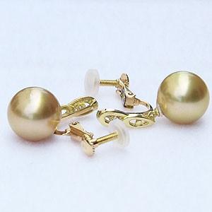 真珠 パール:イヤリング:ゴールデンパール:南洋白蝶真珠:ゴールド系:10mm:K18:ゴールド:18金:ダイヤモンド