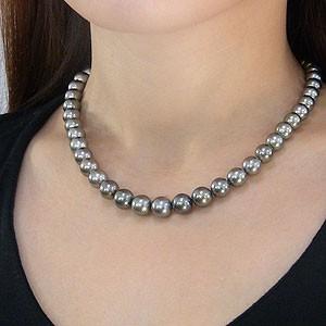 黒真珠:ブラック:パール:ネックレス:チョーカー:タヒチ黒蝶真珠:8-10.5mm:シルバーグレー系:真珠:パール