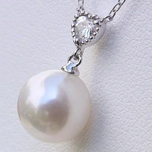 あこや本真珠:ペンダントネックレス:パール:8.5mm:ピンクホワイト系:K10WG:ホワイトゴールド:4月誕生石:キュービックジルコニア:ハート