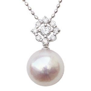 肌触りがいい パールペンダント パールネックレス 本真珠 9mm 9mm 0.16ct ダイヤモンド ダイヤモンド 0.16ct ホワイトゴールド K18WG, Sterling-webstore:c36d2bd9 --- 1gc.de