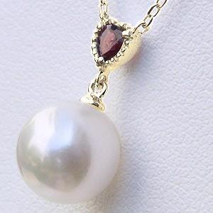 あこや本真珠 8.5mm ガーネット 1月誕生石 ネックレス 真珠 K10 ゴールド パール ペンダント ハート