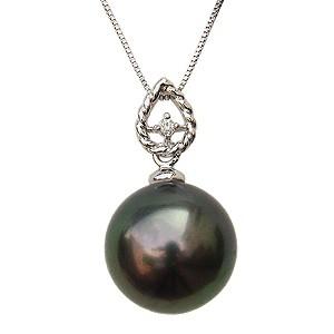 激安特価 真珠 パールペンダント ネックレス ネックレス 黒真珠 10mm ブラックパール 10mm 一粒 ダイヤモンド 0.01ct 一粒 チェーン付き K18WG, Dainese Japan:e67cd68c --- 1gc.de