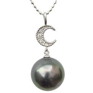 安い購入 ネックレスペンダント 月 黒真珠パール ホワイトゴールド 黒真珠パール 月 ダイヤモンド ダイヤモンド ジュエリー, マッキー:d54d3542 --- chevron9.de