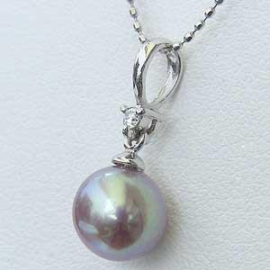 ネックレス 淡水パール 湖水真珠 ダイヤモンド ホワイトゴールド ペンダント ジュエリー