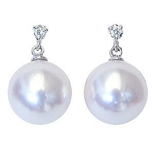 真珠パール  ピアス あこや本真珠 K18WG ホワイトゴールド 真珠の径 8mm ピンクホワイト系 ダイヤモンド 2石 0.02ct ピアス 6月誕生石
