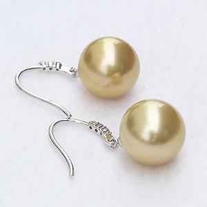 パール:ピアス:真珠:ゴールデンパール:南洋白蝶真珠:ゴールド系:直径11mm:ダイヤモンド:0.06ct:K18WG:ホワイトゴールド