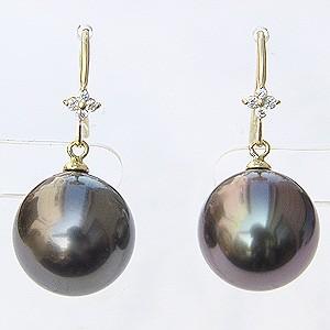 真珠:パール:ピアス:タヒチ黒蝶真珠:ブラックパール:直径11mm:ダイヤモンド:8石:合計0.06ct:K18:ゴールド:フックピアス