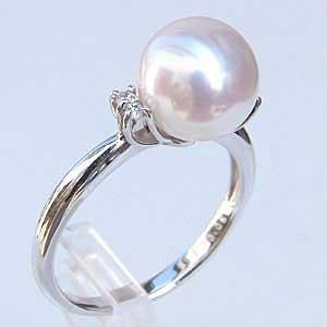 【正規品】 おしゃれ ダイヤモンド アコヤ本真珠 指輪 パール ピンクホワイト系 K18WG ホワイトゴールド 指輪 9mm リング-指輪・リング