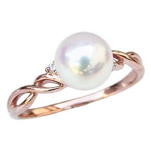 【即納&大特価】 リング パール 指輪 あこや真珠パールリング K10ピンクゴールド ダイヤモンド ジュエリー 指輪 おしゃれ レディース 冠婚葬祭, 家具のおたふくさん 5932d627