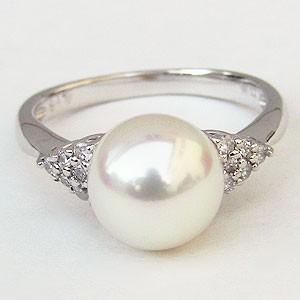 【感謝価格】 あこや本真珠 リング ダイヤモンド パール ピンクホワイト系 9mm PT900 プラチナ 指輪 ラウンド形 指輪 おしゃれ レディース 冠婚葬祭, 有名ブランド 6923015e