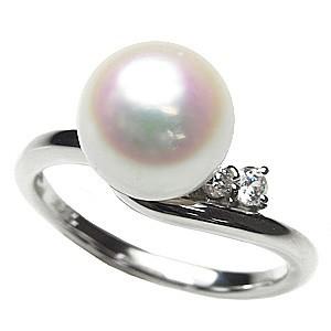 大人気定番商品 指輪 あこや真珠パール 冠婚葬祭 リング おしゃれ ホワイトゴールド レディース 指輪 ブライダル パール ダイヤモンド-指輪・リング