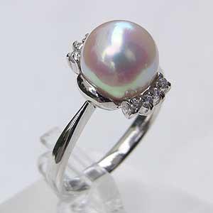 【50%OFF】 アコヤ本真珠 ダイヤモンド ピンクホワイト系 指輪 指輪 9mm パール リング プラチナ PT900 おしゃれ-指輪・リング