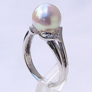 高級素材使用ブランド PT レディー 9mm 指輪(アコヤ本真珠) ダイヤモンド プラチナ あこや本真珠 0.03ct おしゃれ リング ピンクホワイト系 900 パール 指輪-指輪・リング