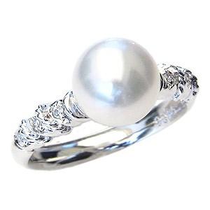 【★安心の定価販売★】 パール 真珠 リング あこや本真珠 指輪 ホワイトゴールド レディース 8mm 冠婚葬祭 ダイヤモンド おしゃれ 指輪-指輪・リング
