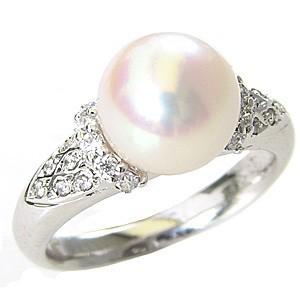 誠実 真珠 おしゃれ 冠婚葬祭 シルバー リング あこや本真珠 指輪 パール 指輪 キュービックジルコニア レディース silver-指輪・リング
