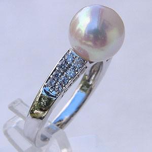 【メール便無料】 あこや本真珠 リング ダイヤモンド 0.37ct パール ピンクホワイト系 9mm プラチナ 指輪(アコヤ本真珠) 指輪 おしゃれ レディース 冠婚, ビビット通販2号店 433643f7