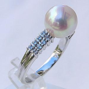 新作モデル リング 9mm プラチナ あこや本真珠 ピンクホワイト系 ダイヤモンド おしゃれ PT900 レディース 指輪 パール 0.27ct 指輪(アコヤ本真珠)-指輪・リング