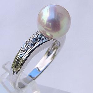 【お買得!】 真珠パール 6月誕生石 パール指輪 結婚 あこや真珠 9mm アコヤ真珠 ダイヤモンド K10WG ホワイトゴールド リング 指輪 おしゃれ レディー, ピンクのサウスポー b55b5b73