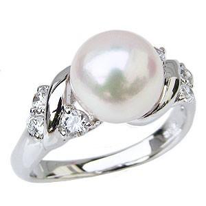 魅力的な あこや真珠パールリング 指輪 ブライダル 花珠真珠 指輪 リング レディ パールリング おしゃれ K10ホワイトゴールド ダイヤモンド パール-指輪・リング