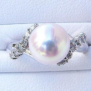 人気 ブライダル リング パール 指輪 あこや真珠パールリング K10ホワイトゴールド ダイヤモンド 指輪 おしゃれ レディース 冠婚葬祭, e-mode-A(イーモードエー) 72be5589