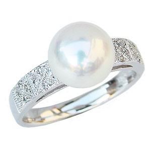 新到着 ブライダル リング パール 指輪 あこや真珠パールリング K10ホワイトゴールド ダイヤモンド 指輪 おしゃれ レディース 冠婚葬祭, JAPAN LIFE f09f9314